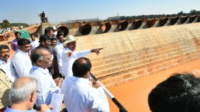 Photo of K Chandrasekhar Rao inspecting Kaleshwaram Project