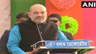 Photo of Amit Shah's chopper to finally land in Jhargram for rally