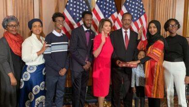 Photo of Ilhan Omar the first Somali-American US Representative wears Hijab, ends 181 YO hijab ban