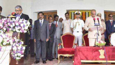 Photo of First Chief Justice of Telangana High Court sworn-in by Governor