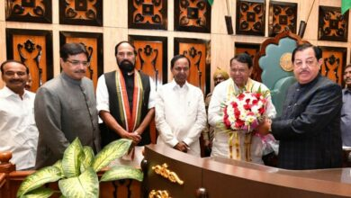 Photo of Pocharam declared elected Speaker unanimously