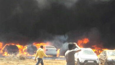 Photo of Around 100 cars gutted in fire at Aero India 2019 at Bengaluru
