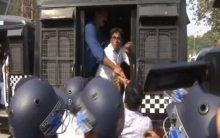 BJP Yuva Morcha protest outside Eden Garden to remove photographs of Imran Khan