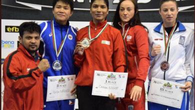 Photo of Boxing gold medalist Nikhat Zareen gets felicitation at Telangana Bhavan