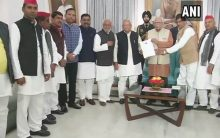 BSP-SP delegation meets UP Governor to protest grounding of Akhilesh Yadav