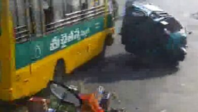 Photo of Four injured as school bus rams into vehicles in Vijayawada