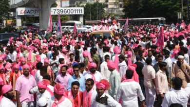 Photo of TRS  Sai Kiran Yadavwith supporters during a massive rally to file nominations