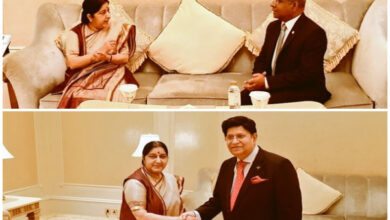 Photo of Swaraj discusses bilateral issues with her Maldivian, B'deshi counterparts at OIC meet