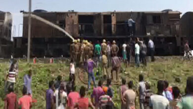 Photo of Guwahati: Train catches fire, two killed
