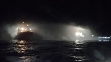 Photo of Coast Guard ships douse major fire on research vessel