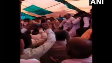 """Photo of Stage collapses at BJP's """"Holi Milan"""" in Sambhal."""