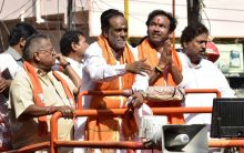 Kishan Reddy campaigning in Musheerabad