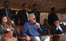 Farooq Abdullah holds election rally in Srinagar