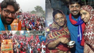 Photo of With Lal Salaam and Lal flags, thousands joined Kanhaiya for road show