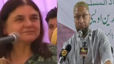 Photo of Asaduddin Owaisi reacts after video of Maneka asking Muslims to 'vote for her or else…' goes viral