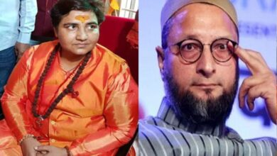 Photo of Asaduddin Owaisi reacts after BJP fields Sadhvi Pragya from Bhopal LS constituency