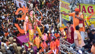 Photo of Rama Navami Shobha Yatra procession in Hyderabad