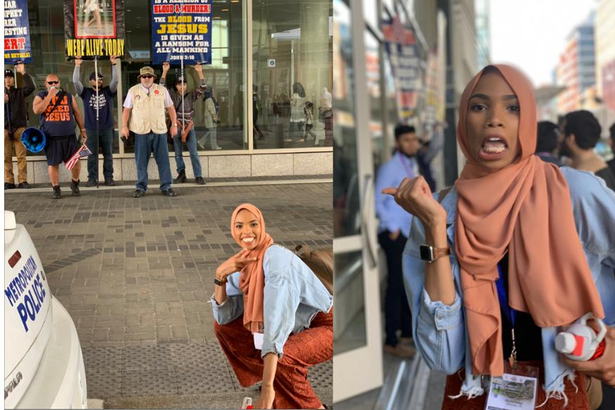 Foto Wanita Berjilbab yang Berpose Kocak di Depan Demonstan Anti-Islam, Viral