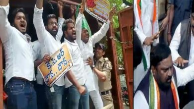 Photo of Inter results row: City Congress leaders stage dharna for minister's suspension