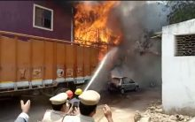 Hyderabad: Massive Fire breaks out from a godown at Moazzam jahi Market