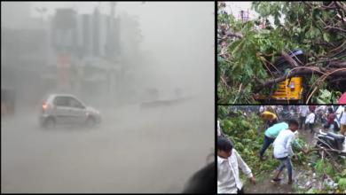 Photo of Hyderabad: Windstorm wreaks havoc; LB Stadium light tower collapses killing one