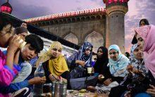 First Iftar at Makkah Masjid .