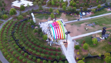 Photo of Apple Park decorated in rainbow colours for Steve Jobs