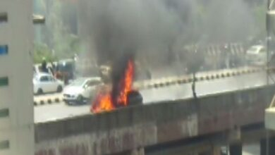 Photo of Mumbai: Car catches fire on Western Express Highway