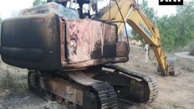 Photo of Maoists torch 1 machine at construction site in Bihar