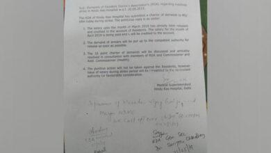 Photo of Hindu Rao resident doctors call off indefinite strike over pending salaries