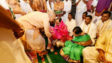 Photo of KCR performs 'pooja' at the famous Lord Balaji temple