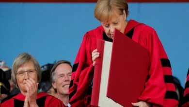 Photo of Havard honours Angela Merkel with law degree