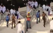 VIDEO: Policeman at Mecca's holy site carries elderly pilgrim up the stairs