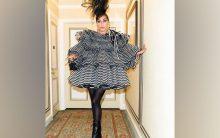 Lady Gaga counts down to Met Gala in stunning dress