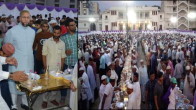 Photo of Asaduddin Owaisi hosts iftar party at Darussalam