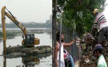 Hussain Sagar lake cleaning work
