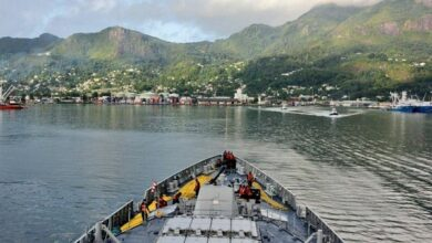Photo of INS Kochi enters Port Victoria in Seychelles for Operational Turnaround