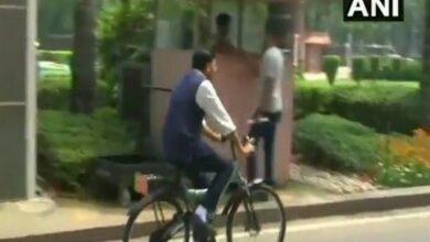 Photo of Union Minister Mansukh Mandaviya rides bicycle to Parliament