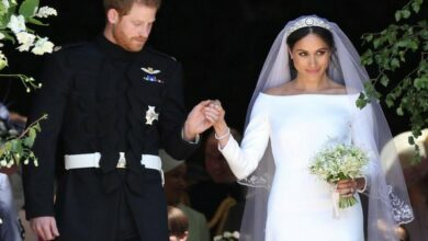 Photo of Meghan Markle's wedding dress on display in Scottish castle