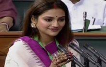 "Nusrat Jahan takes oath -ends with ""Jai Hind, Vande Mataram, Jai Bangla"""