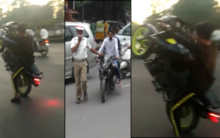Minor boys riding bikes rashly and Performing stunts in Old city
