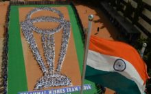 Chennai: Students perform Yoga in World Cup trophy formation