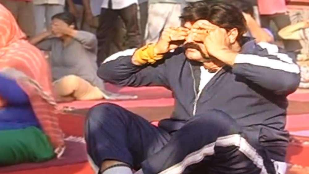 BalaKrishna performs Yogasanas at KBR park