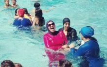 France: defying ban Muslim women swim in burkinis at pool