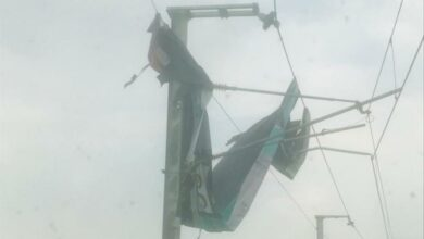 Photo of Flex fell on metro over head electric wire affected metro train movement for 20 minutes