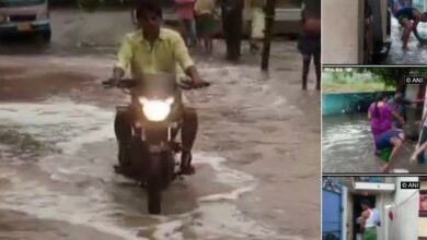 Photo of Streets flooded after water storage tank breaches due to rain in Peddapuram in AP