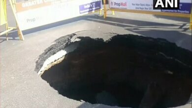 Photo of Road caves in at a busy intersection in Chennai