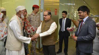 Photo of First Indian Haj flight lands in Madinah, Ambassador Sayeed, CG Sheikh receive them