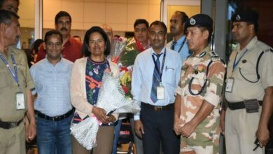 Photo of IPS officer returns after scaling 'Seven Summit Challenge'