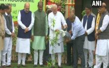 Modi plants saplings in Parliament as part of plantation drive